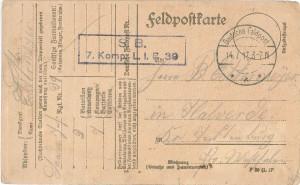 Frontseite der Feldpostkarte Heinrich Echtermeyers vom 12. Juli 1917.