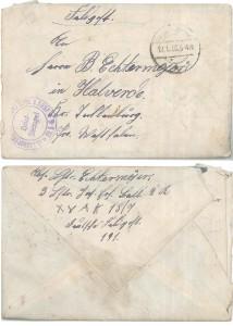 Briefumschlag des Feldpostbriefes vom 26. Januar 1918.