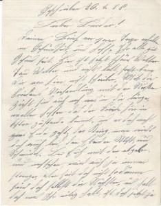 Heinrich Echtermeyer an seinen Bruder Bernhard Echtermeyer, erste Seite des Feldpostbriefs vom 26. Januar 1918.