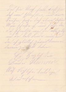Heinrich Echtermeyer an seinen Bruder Bernhard Echtermeyer, letzte Seite des Feldpostbriefes vom 18. Januar 1917.