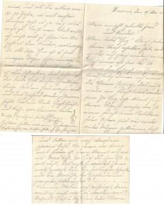 August Jasper an seine Frau Bernhadine, erste und letzte Seite des Briefes vom 15. Mai 1915.