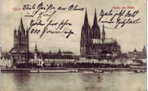 Postkarte aus Köln an seine Ehefrau Bernhadine Jasper, 7. August 1914.