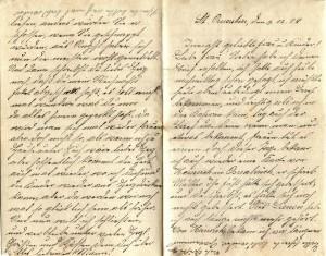 August Jasper an seine Frau Bernhadine, erste und letzte Seite des Briefes vom 03. Dezember 1915.