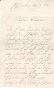 Brief Heinrich Echtermeyers an seinen Bruder, geschrieben am 26.3.1916. Seite 1